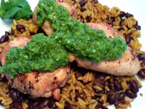Grilled Chicken Thighs with Green Harissa, Saffron Rice and Black ...