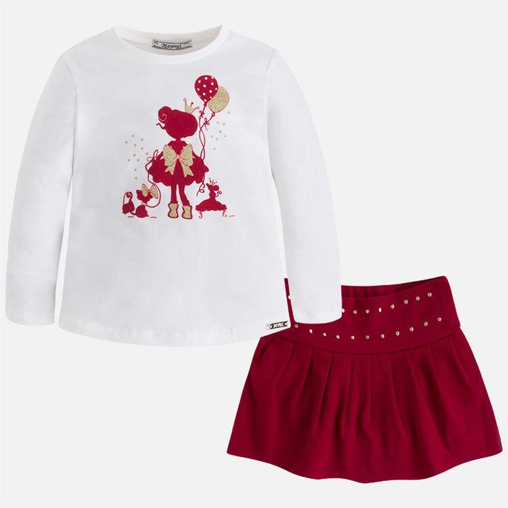 Conjunto de niña con camiseta de manga larga y falda Granate