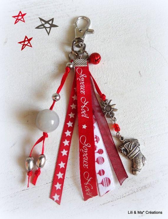 "Bijou de sac, grigri, Lili et Ma* Créations ""Joyeux Noel"""
