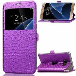 Husa Samsung Galaxy S7 Edge, Decupaj Ecran, Book, Piele Ecologica, Culoare Purple