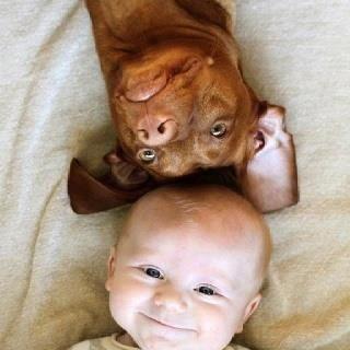 Smiling #baby + #dog