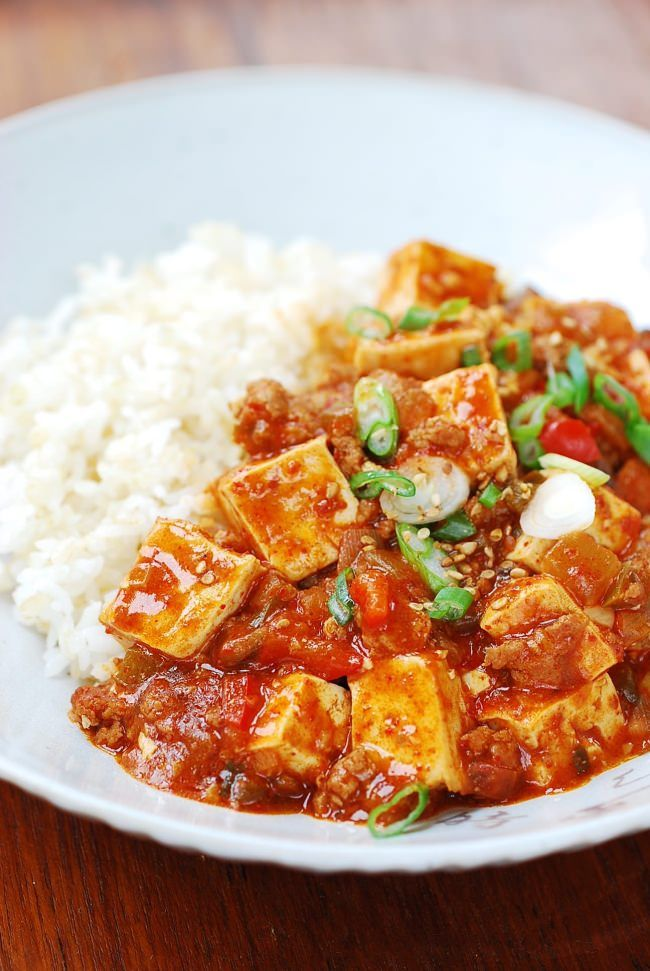 Korean-style mapo tofu. I've made this, so yummy! I doubled the soy sauce. Also, added 2 tablespoons of youndoo.