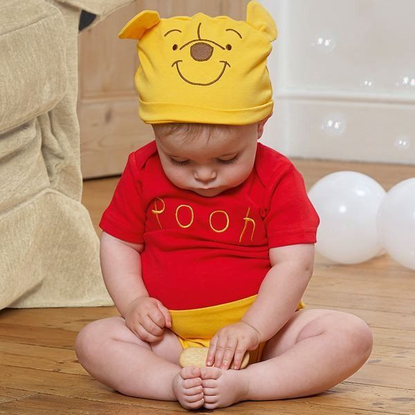 Disney Baby Winnie the Pooh Jersey Bodysuit and Hat - www.totswarehouse.com  The Disney Baby Winnie the Pooh Jersey Bodysuit is a lovely dress up item for any little girl or boy.  The bodysuit features envelope folded sleeves and popper fastenings for easy dressing.  Complete with Hat.   Machine Washable  #disney #pooh #baby