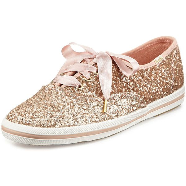 Kate Spade New York Keds& glitter sneaker (£62) ❤ liked on Polyvore featuring shoes, sneakers, rose gold, rose gold flats, round toe flats, lace up flats, canvas lace up sneakers and flat shoes