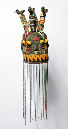 Africa | Beaded crown from the Yoruba people of Nigeria | Glass beads and fiber