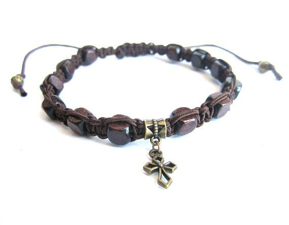 Mens cross bracelet shamballa bracelet men wooden bracelet