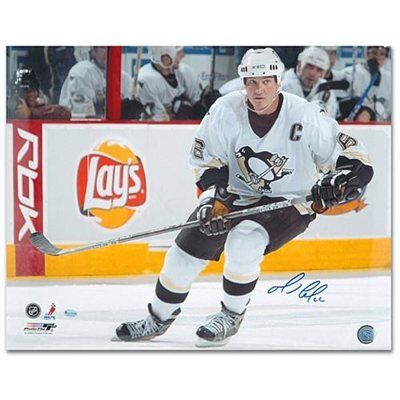 Mario Lemieux Pittsburgh Penguins Autographed 16'' x 20'' White Jersey Skating Photograph