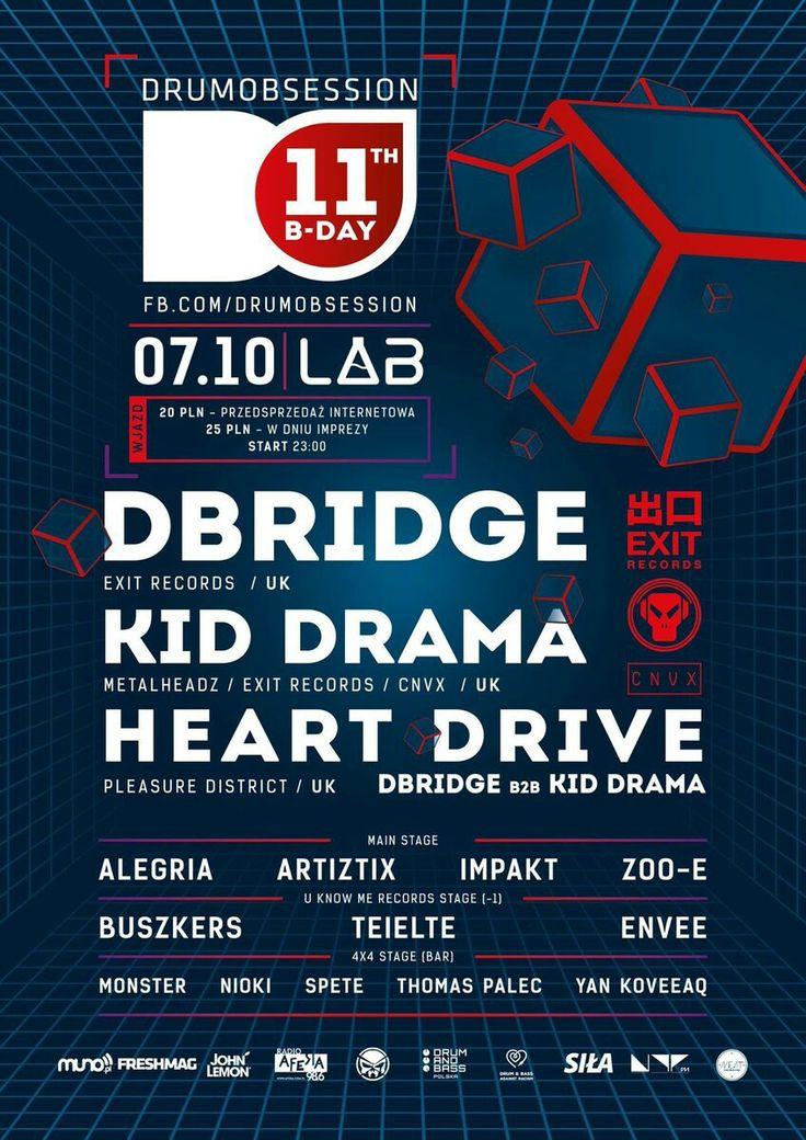 #autonomic #heartdrive #kiddrama #dbridge #drumobsession #do #poznań #poznan #projektlab #flyer #plakat