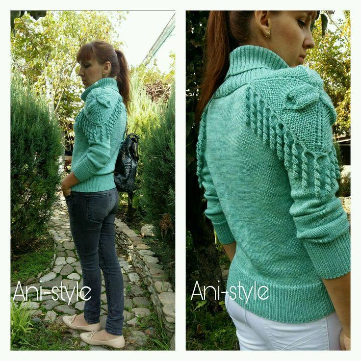 Купить Свитер вязаный со съемным воротником (мятный) - свитер, вязаный свитер, свитер мятный