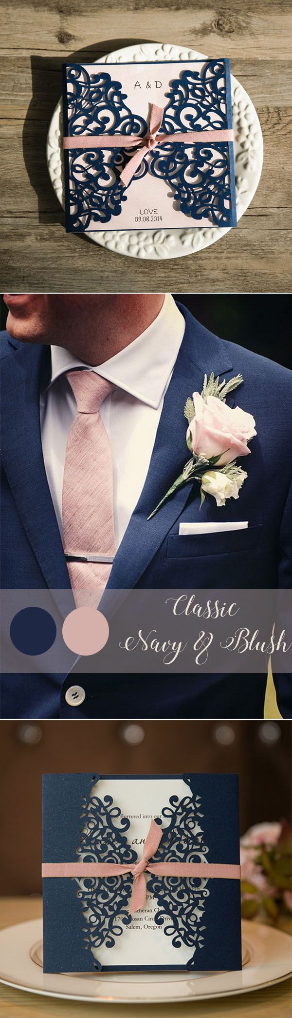 classic navy and dusty pink groom attire and matched wedding invitations
