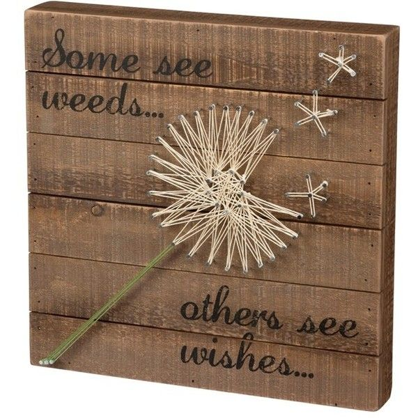 Primitives By Kathy Wishes String Art ($35) ❤ liked on Polyvore featuring home, home decor, wall art, brown, wooden wall art, typography wall art, primitives by kathy, wood home decor and dandelion wall art