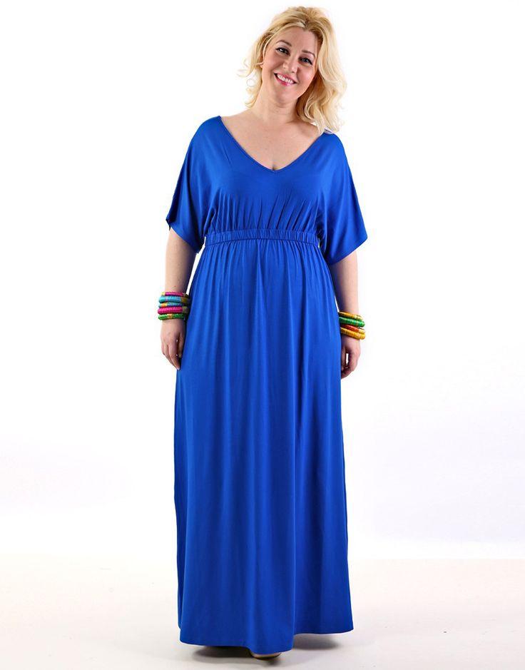 Μάξι φόρεμα με V λαιμουδιά  - Μπλε Ρουά