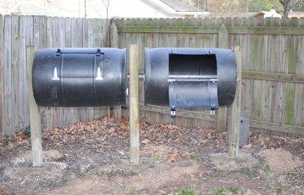 I use two barrels at a time so that I always have something available while the other container is working. The instructions are basically the same — just add another barrel, a longer center pole and an additional post.