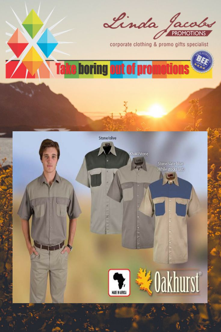Two-Tone Heavy Duty Bush shirts Enjoy 100% durable cotton - all terrain fabric in this popular style. Each design has double pleated pockets with velcro fastening. For more info - See more products on our website - http://www.lindajacobspromotions.co.za/ Email: linda@lindajacobspromotions.co.za Call us - 083 6280181 | 021 5572152