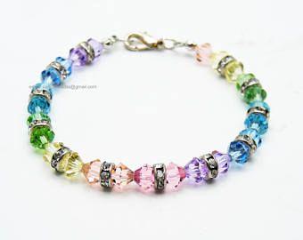 Bracciale arcobaleno; Arcobaleno; Braccialetto di perline; Bracciale Swarovski; Bracciale amicizia; Bracciale in cristallo; Perle Swarovski