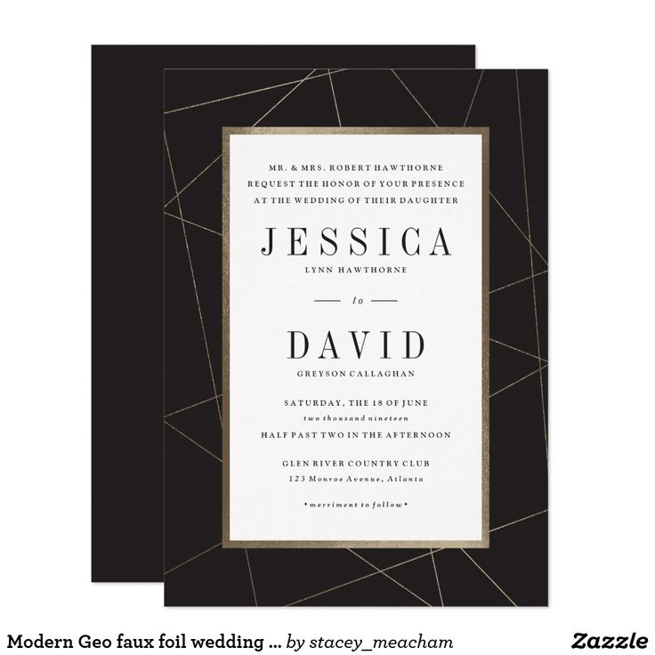 Modern Geo faux foil wedding invitation A modern, geometric wedding invitation featuring gold facets atop of a sleek black background. Designed by Stacey Meacham, this invitation is part of the Modern Geo collection.  Find more accessories and additional color ways here: http://www.zazzle.com/collections/modern_geo_wedding-119097708733481433 #invitations #weddings