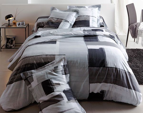 Linge de lit camaïeu de gris becquet création