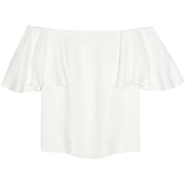 Valentino Silk Off-the-Shoulder Blouse (9,490 GTQ) ❤ liked on Polyvore featuring tops, blouses, white, white off shoulder top, silk top, off shoulder blouse, white silk top and valentino blouse