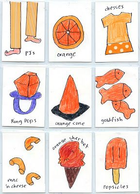 """Art Projects for Kids: """"Things that are Orange"""" ATC Cards Project."""