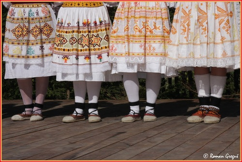 Lower body parts of costumes of women from Čičmany, Slovakia.