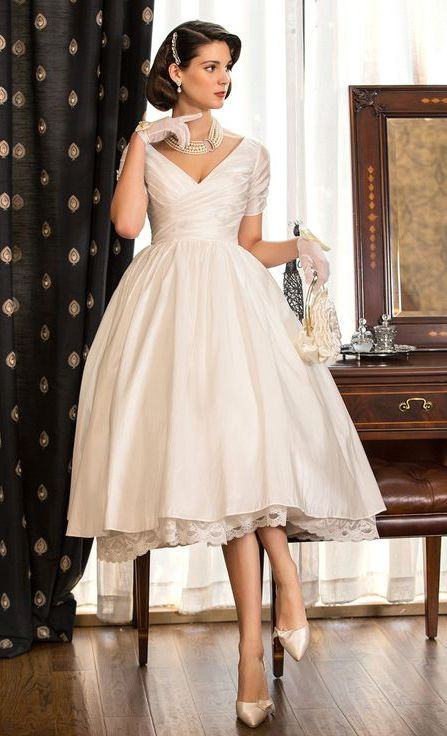 V-neck Tea-length Taffeta Wedding Dress