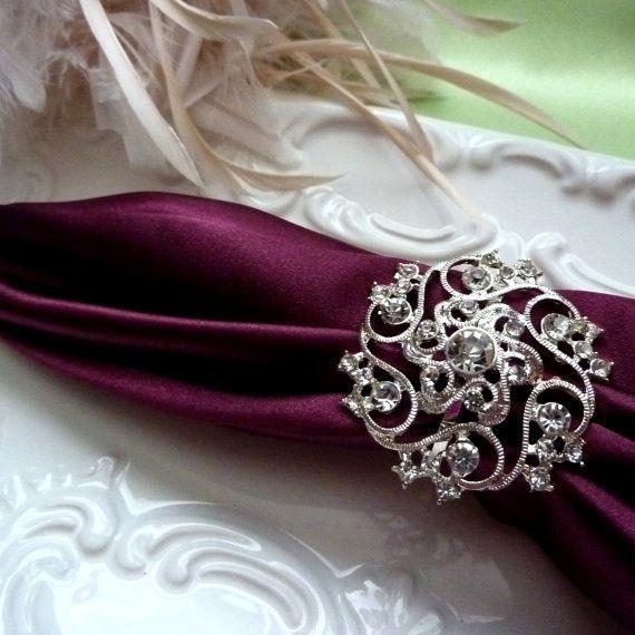 Custom Rhinestone Silver Napkin Ring Holders For Wedding