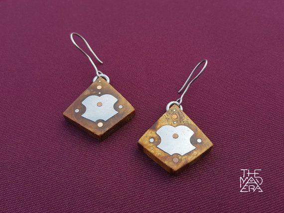 Palo Santo Geometric Earrings, Inlaid Metals, Unique Design, Multi Metal…