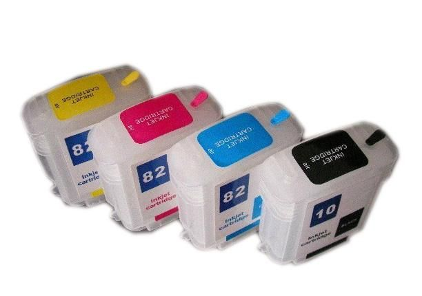 4pcs For HP 10 82 for HP Designjet 500 500ps 800 800ps 815MFP 820MFP cc800pc Empty Refillable ink cartridge  69ML
