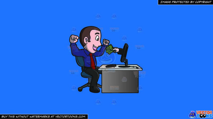 A Man Getting Money Out Of His Computer On A Solid Spanish Blue 016fb9 Background:   A man with brown black hair wearing a dark purple dress shirt with red necktie dark gray pants and black shoes sitting on a dark teal with gray office chair behind a gray desk with a desktop computer parts his lips to smile in delight as a hand comes out of his computer monitor to hand out a bunch of cash to him
