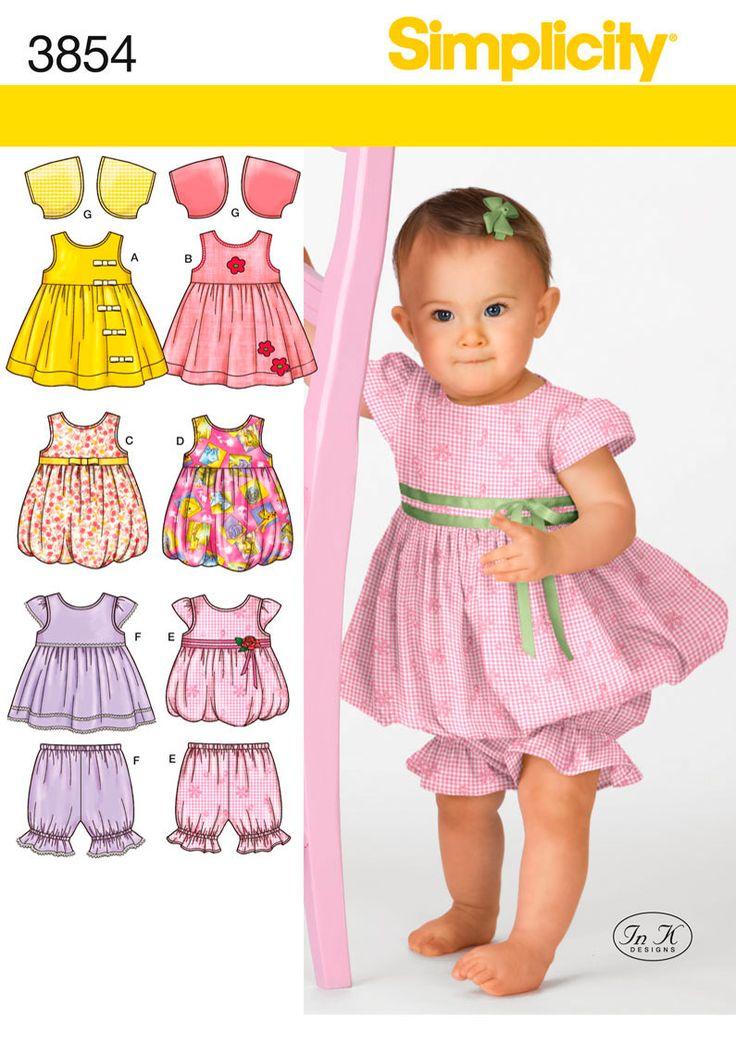 Babies Dress, Jumper, Top, Pants Sewing Pattern 3854 Simplicity
