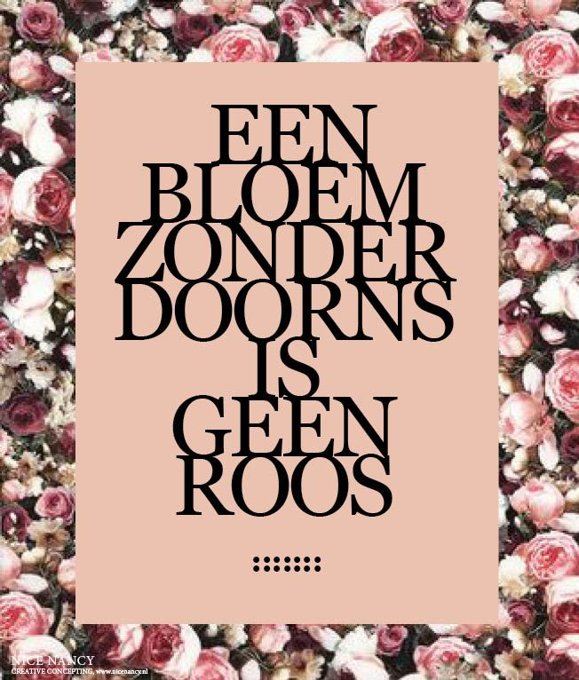 Happy Dutch quote (a flower without thorns can't be a rose...) by blogger www.nicenancy.nl