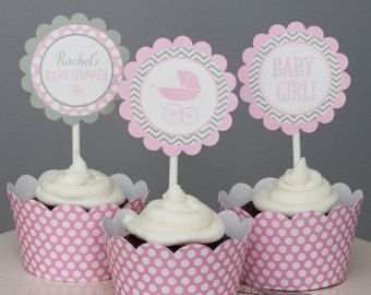 Carriage Baby Shower Cupcake Toppers - Girl Baby Shower - Pink and Grey - Personalized Printable