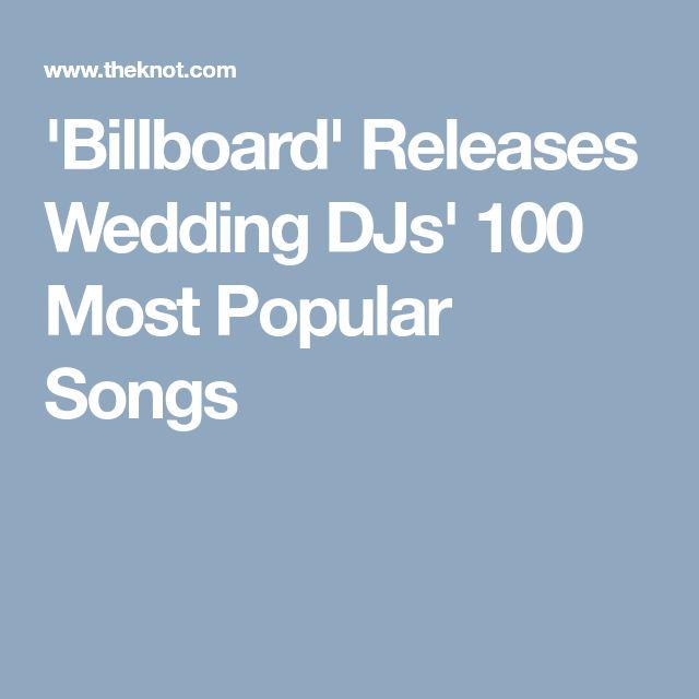 'Billboard' Releases Wedding DJs' 100 Most Popular Songs