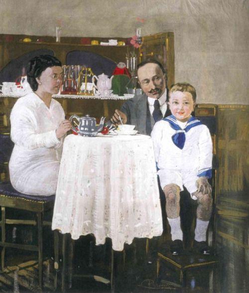 "huariqueje: "" The Familie Consoaro Girelli - Felice Casorati , 1916 Italian, 1883-1963 tempera on canvas, 99 x 90 cm. """