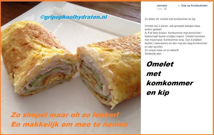 Ik houd ervan om vooral makkelijke voedzame recepten en ideeën te delen. Het hoeft niet ingewikkeld te zijn.  Deze omelet-wrap is voedzaam, makkelijk te maken, warm en koud te eten en makkelijk mee te nemen in je lunchbox smile-emoticon  Met dank aan Janneke die dit recept in de besloten FB-groep deelde! http://gripopkoolhydraten.nl/nieuws/