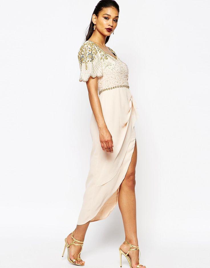 Virgos Lounge Laila Embellished Midi Dress With Thigh Split Detail