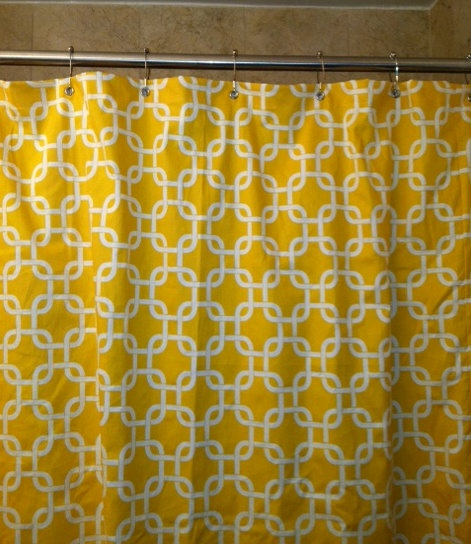 Yellow Geometric Shower Curtain by HouseofHenderson on Etsy