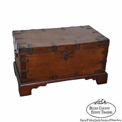 Antique Rustic Wood & Iron Lidded Box Accent Chest