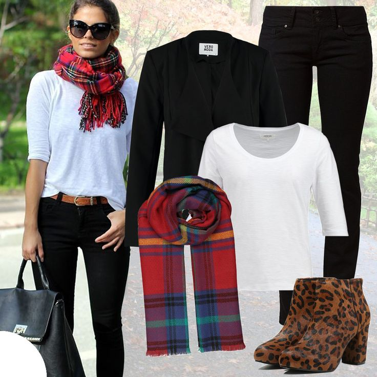 #black & #white with a touch of #red #gingham #checks and to go with them the #animal #print #boots.