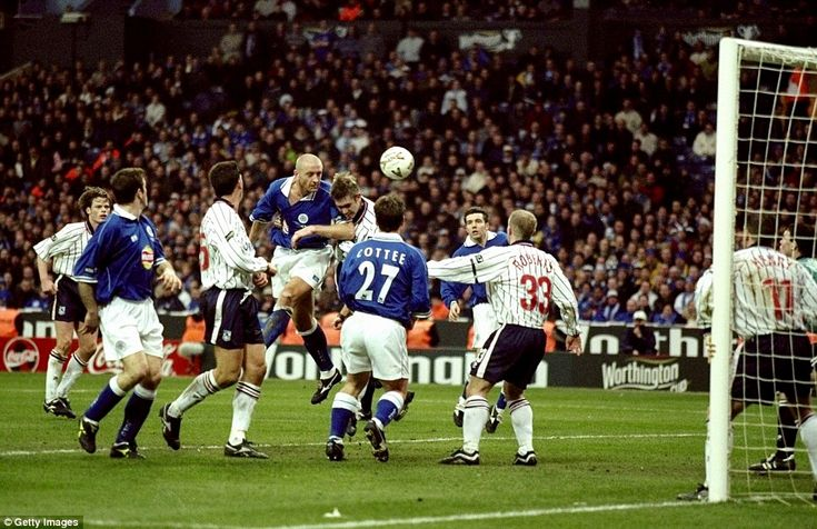 2000 League Cup Final, Wembley: Leicester vs Tranmere. The Foxes emerged triumphant in the last final to be played at the old Wembley, with Martin O'Neill's men winning the competition for the second time in four seasons. The picture shows Leicester captain Matt Elliott heading home his second - and winning - goal of the game.