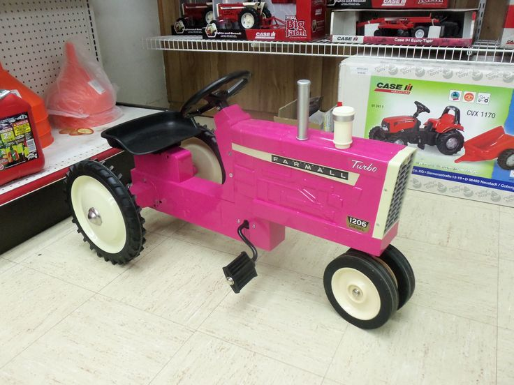 Pink Power Wheels Tractor : Pink farmall pedal tractor farm construction toys