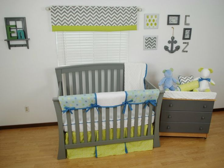 Nautical nursery with lime and blue fabrics and grey for Nautical nursery fabric