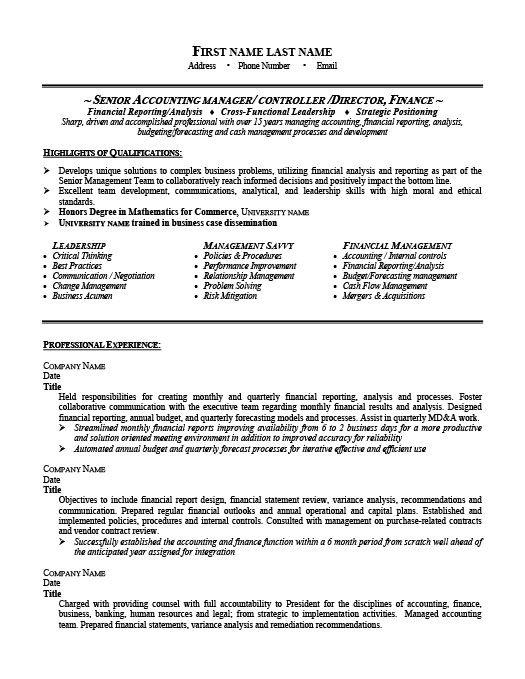 Senior Accounting Manager Resume Template | Premium Resume Samples & Example