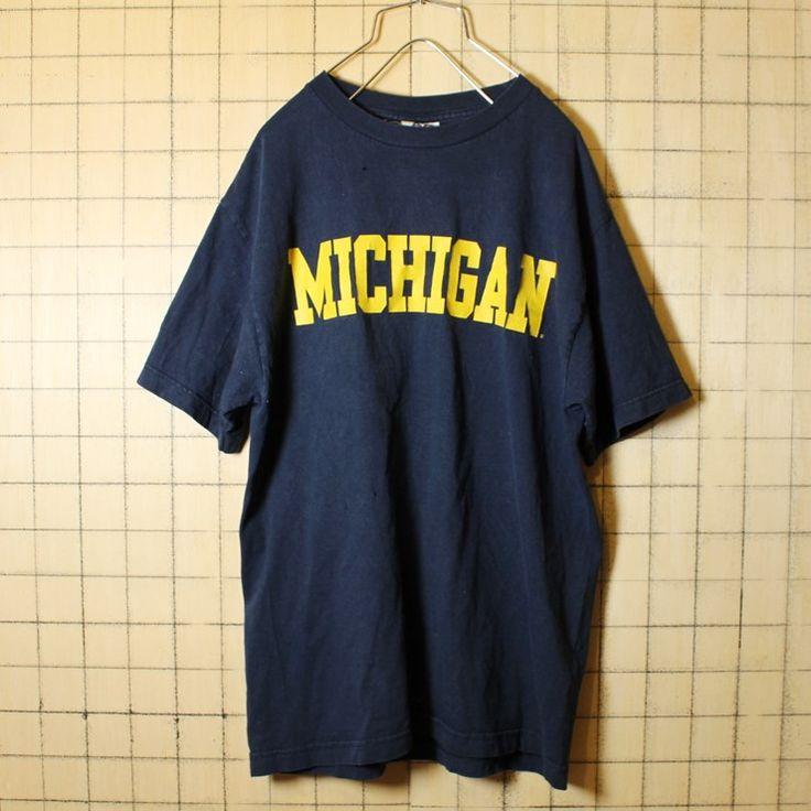 USA製 古着 Tシャツ ネイビー 半袖 MICHIGAN カレッジ メンズM ALSTYLE APPAREL