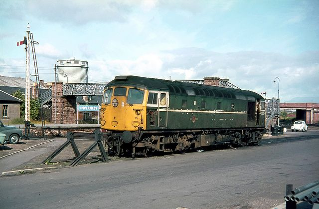 D5335 (later 26035) at Inverness on 6th Aug 1969. Built by the Birmingham Railway Carriage and Wagon Co and delivered on 24th July 1959. Withdrawn on 10th July 1992. Now preserved by the Caledonian Railway Diesel Group.