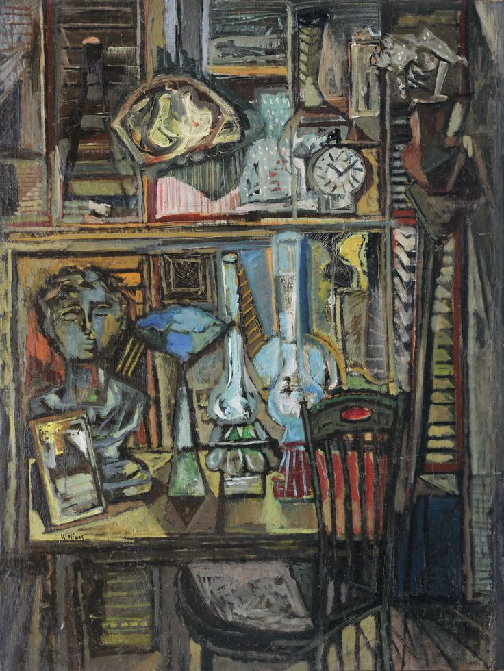 NIKOS KESSANLIS, GREEK, 1930-2004. STILL LIFE WITH LAMP, 1954, oil on canvas, 136 by 103.5cm., 53½ by 40¾in. | Sotheby's