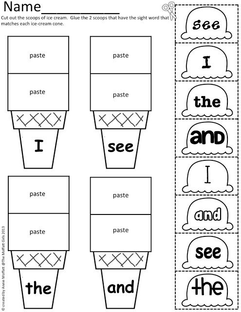 Sight Word Scoops! (Color, cut and paste) Ice Cream Scoops