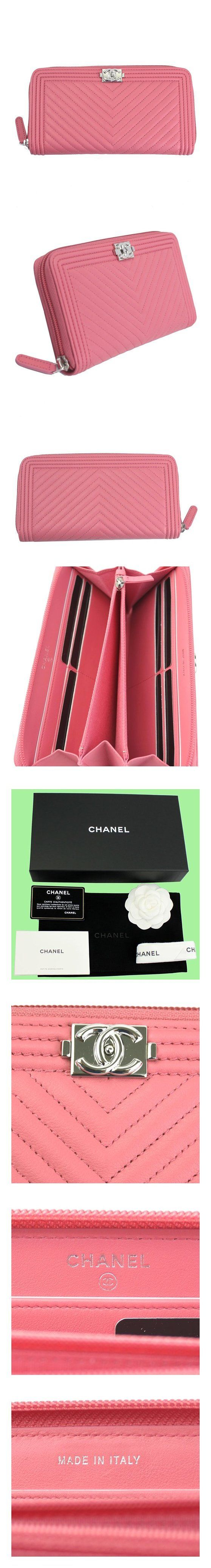 chanel boy chevron v stitch pink leather zip around long wallet a80487 apparel accessory