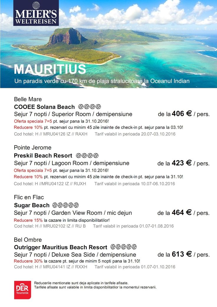 Puteti admira un paradis verde cu 170 km de plaja stralucitoare la Oceanul Indian - MAURITIUS -  Rezerva acum! http://bit.ly/1VKHHNe