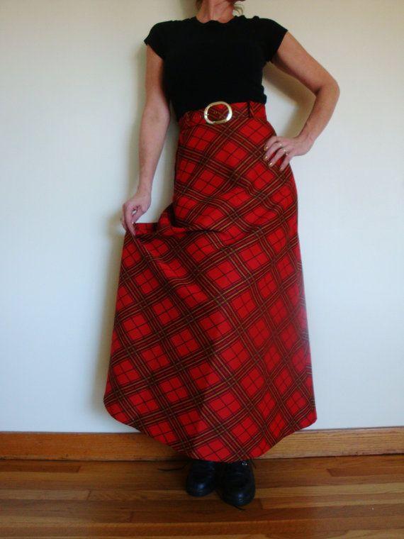 70 S Mod Holiday Plaid Maxi Skirt Red Tartan Scottish